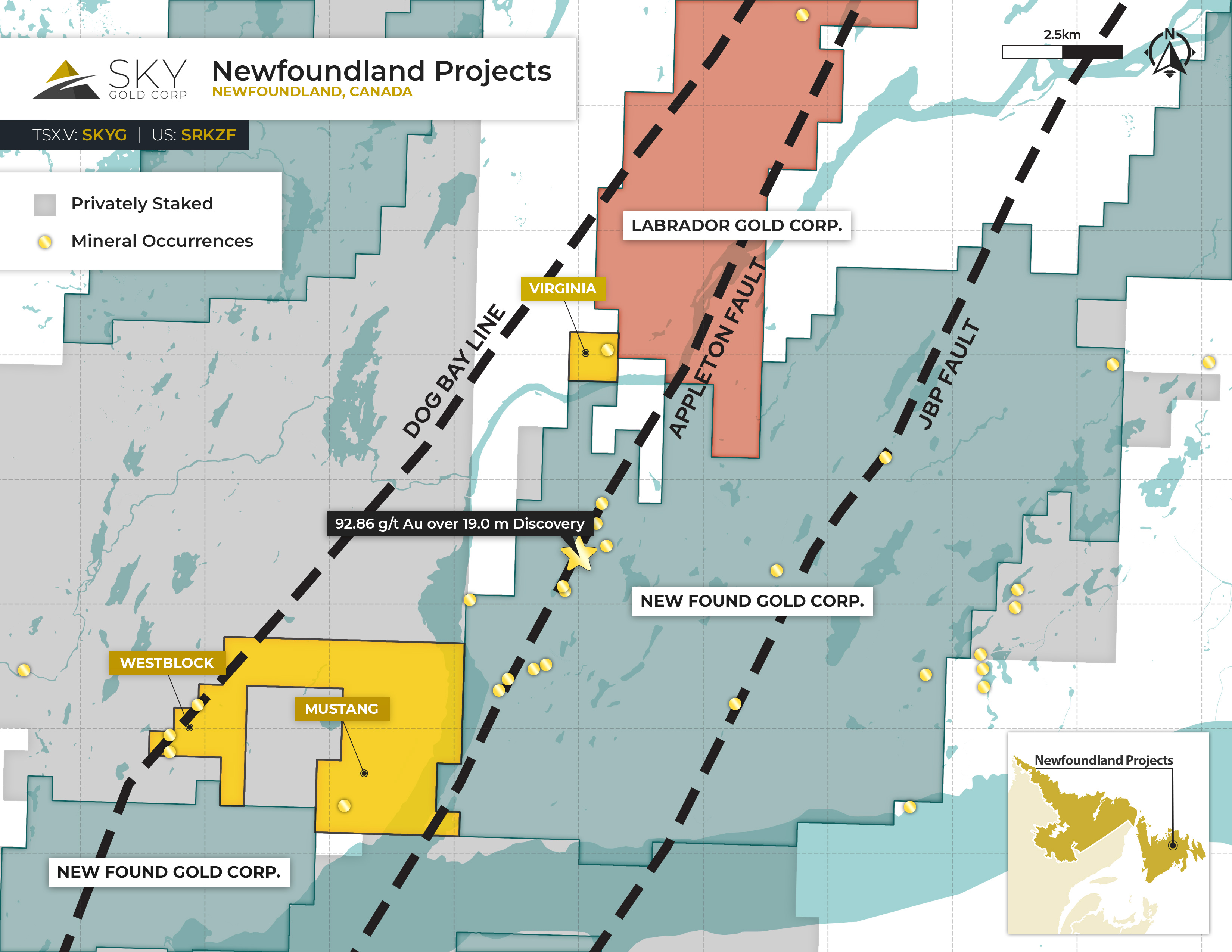Location map of Sky Gold Corp.'s Newfoundland Projects